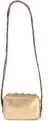 Red(V) Sin Appliqued Studded Metallic Leather Shoulder Bag
