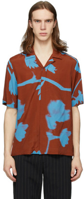 Paul Smith Brown and Blue Floral Camp Shirt