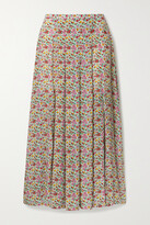 Thumbnail for your product : Rixo Georgia Pleated Floral-print Cotton And Silk-blend Midi Skirt - Green