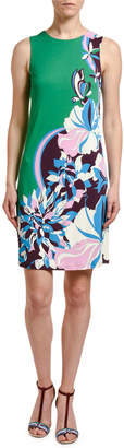 Emilio Pucci Printed Crepe Sleeveless Shift Dress