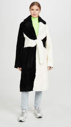 Saks Potts Shearling Colorblock Coat