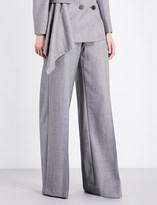 Alexander McQueen Birds eye-pattern wide mid-rise wool trousers