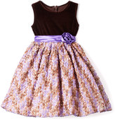 Gold & Purple Rosette Dress - Infant Toddler & Girls
