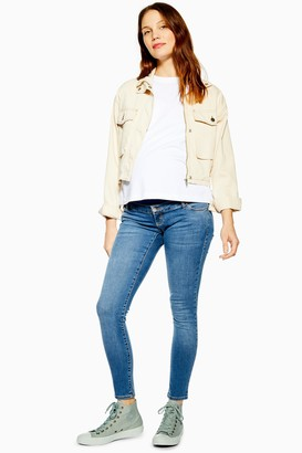 Topshop Womens **Maternity Over The Bump Mid Blue Leigh Jeans - Mid Stone