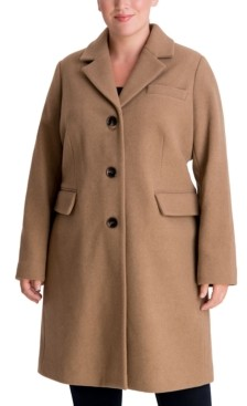 Michael Kors Michael Plus Size Single-Breasted Walker Coat, Created for Macy's