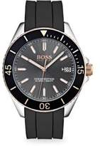 Ocean Edition Stainless Steel & Black Silicone Strap Watch