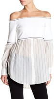 DKNY Striped Off-the-Shoulder Shirt