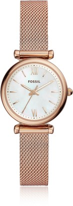Fossil Carlie Mini Three Hand Rose Gold Tone Mesh Women's Watch