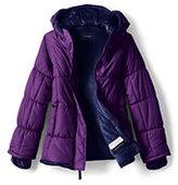 Lands' End Little Girls Fleece Lined Puffer Jacket-Grape Royale