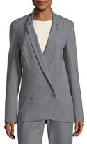 Halston Long Double-Breasted Wool-Blend Suiting Blazer
