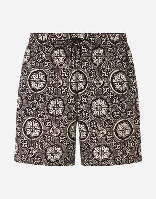 Dolce & Gabbana Medium Swimming Trunks With Maiolica Print On A Black Background