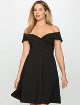 ELOQUII Plus Size Off the Shoulder Wrap Waist Dress