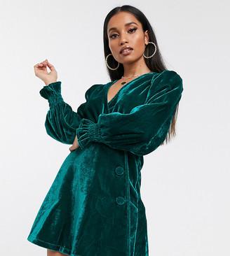 ASOS DESIGN Petite velvet button through wrap mini dress