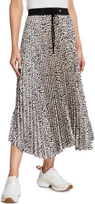 Loyd/Ford Leopard-Print Satin Midi Skirt