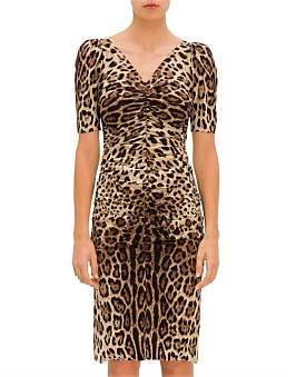 Dolce & Gabbana Leo Print Ruched Front Charmuse Dress W/ Short Puffy Sleeves