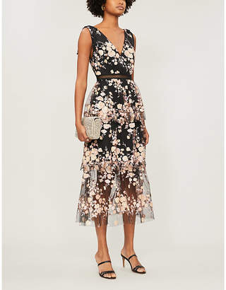 Self-Portrait Tiered Sequinned Floral Mesh Midi Dress
