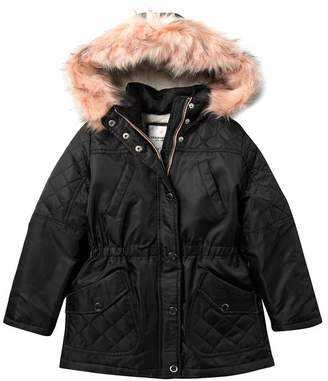 Urban Republic Faux Fur Trimmed Anorak Jacket (Big Girls)