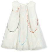 Billieblush Sleeveless Scalloped Organza Swing Dress, White, Size 12-18 Months