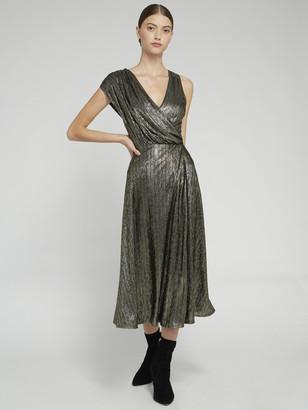 Alice + Olivia Roxy Metallic Midi Dress
