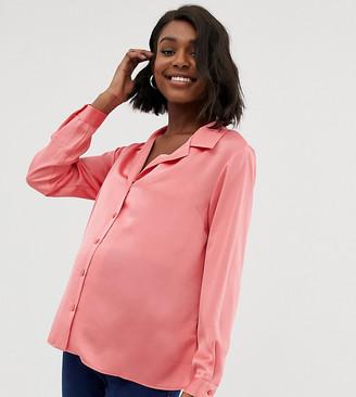 Asos DESIGN Maternity relaxed satin long sleeve shirt-Pink