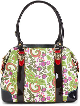 Made In Italy Leather Floral Satchel