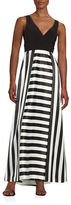 Betsy & Adam Striped V-Neck Gown