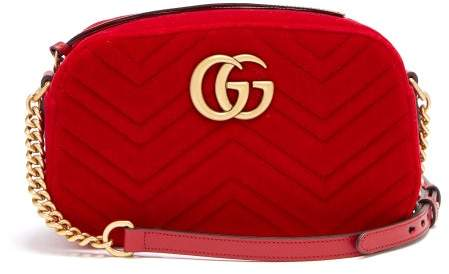 5a59945aabae Gg Marmont Chevron Velvet Shoulder Bag - ShopStyle
