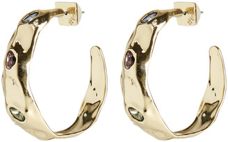 Alexis Bittar Stone Studded Crumpled Hoop Earring
