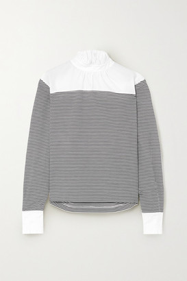 Philosophy di Lorenzo Serafini Ruffled Striped Cotton-blend Poplin Blouse - Black