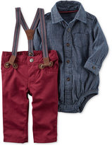 Carter's 3-Pc. Chambray Bodysuit, Suspenders & Pants Set, Baby Boys (0-24 months)