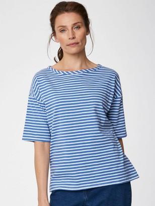 Thought - Simonia Hemp Striped Tee in Marina Blue - 6 (34) | hemp | jersey | striped | marina blue