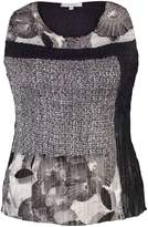 House of Fraser Chesca Plus Size Black/Ivory Patchwork Print Camisole
