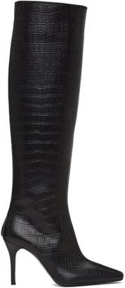 System Black Croc Tall Boots