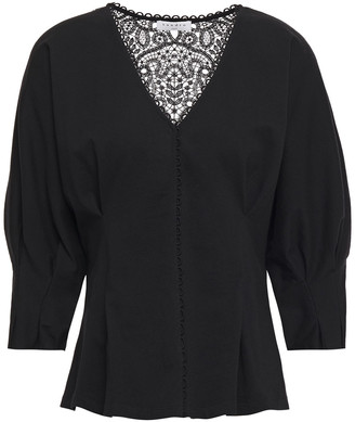 Sandro Guipure Lace-paneled Cotton-jersey Peplum Blouse