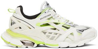 Balenciaga White and Yellow Track Sneakers