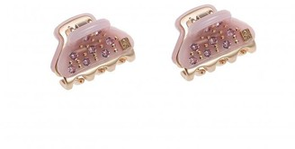 Alexandre de Paris Hair Clip Glossy Vendome Clip Full Strass Pink 1.8Cm