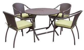 Rosecliff Heights Jadon 5 Piece Dining Set with Cushion Rosecliff Heights Fabric: Green
