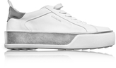 Hogan Optic White and Silver Laminated Leather Low Top Sneakers