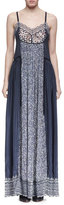 Chloé Sleeveless Bicolor Mixed-Media Maxi Dress, Navy