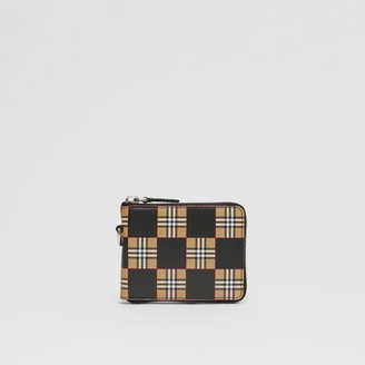 Burberry Chequer Print Leather Ziparound Wallet