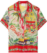 Anna Sui Florida Printed Silk-jacquard Shirt - Red