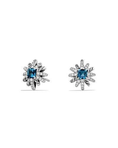 David Yurman 12mm Starburst Diamond & Blue Topaz Button Earrings
