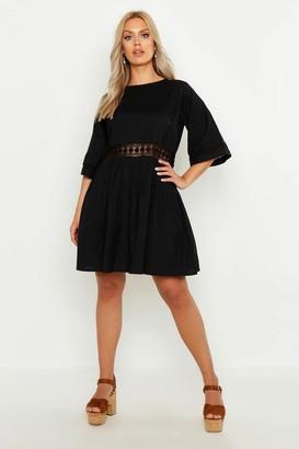 boohoo Plus Crochet Lace Linen Smock Dress