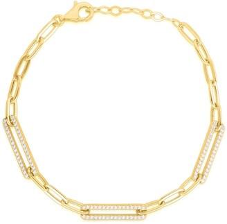 Sphera Milano 14K Gold Vermeil CZ Link Chain Bracelet