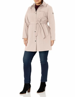 Calvin Klein Womens Plus Sized Single Breasted Soft Shell Trench