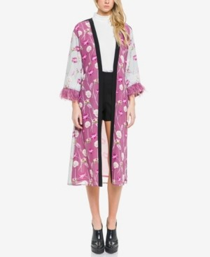 Endless Rose Mixed Print with Feather Sleeve Kimono