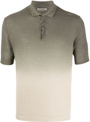 Corneliani gradient-effect linen polo shirt