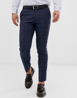 Moss Bros suit pants in blue check