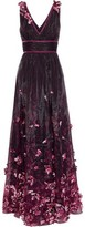 Marchesa Velvet-trimmed Floral-appliqued Printed Organza Gown
