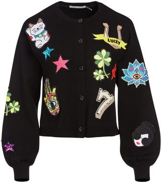 Alice + Olivia Zola Patch Embroidered Cardigan